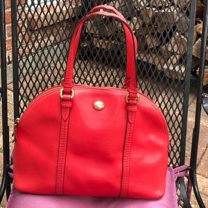 PEYTON LEATHER CORA DOMED SATCHEL GOLD/RED